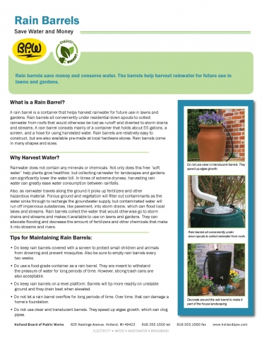 Rain Barrel Fact Sheet